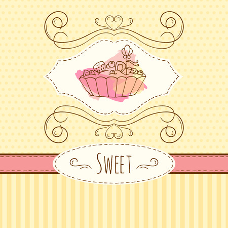 tart: Cake illustration. Vector hand drawn card with watercolor splashes. Sweet polka dots and stripes design. Invitation card template. Tart with cream and berries.