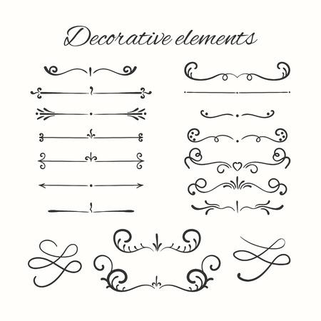 lineas decorativas: divisores dibujado mano conjunto. elementos decorativos ornamentales. Vector de los elementos ornamentales de dise�o.