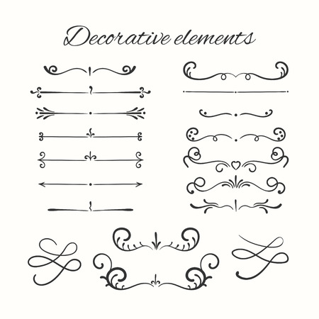 Hand drawn dividers set. Ornamental decorative elements. Vector ornate elements design. Ilustração