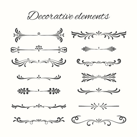 Hand drawn dividers set. Ornamental decorative elements. Vector ornate elements design. Vettoriali