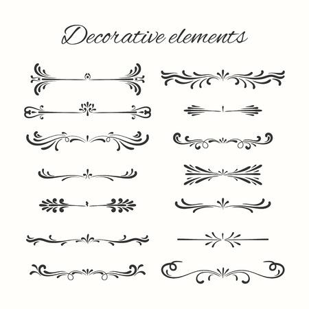 calligraphic design: Hand drawn dividers set. Ornamental decorative elements. Vector ornate elements design. Illustration