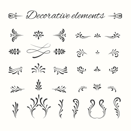 Hand drawn dividers set. Ornamental decorative elements. Vector ornate elements design. Flourish decorative frame.