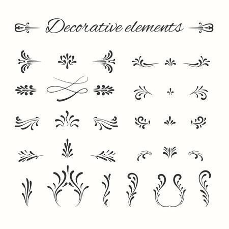 Hand drawn dividers set. Ornamental decorative elements. Vector ornate elements design. Flourish decorative frame.