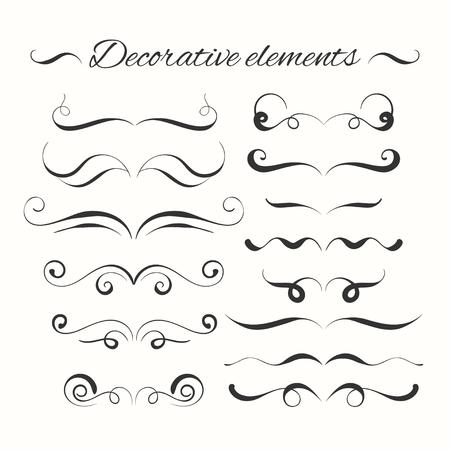 Hand drawn dividers set. Ornamental decorative elements. Vector ornate elements design. Illustration