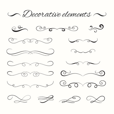 Hand drawn dividers set. Ornamental decorative elements. Vector ornate elements design. 向量圖像