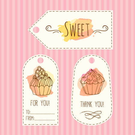 cupcakes: Tags with cupcake illustration. Vector hand drawn labes set with watercolor splashes. Sweet vector cupcakes with cream and berries. Template lable set.