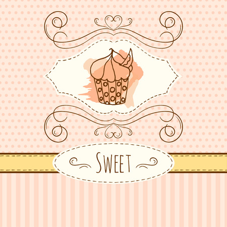 cupcake illustration: Cupcake illustration. Vector hand drawn card with watercolor splashes. Sweet polka dots and stripes design. Invitation card template. Illustration