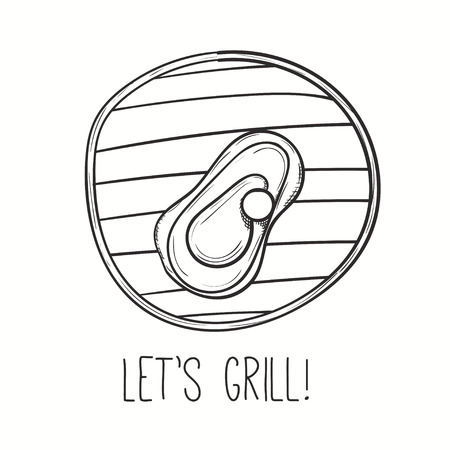 pork chop: Grill illustration with meat. Vector steak on grill. Hand drawn barbecue design.