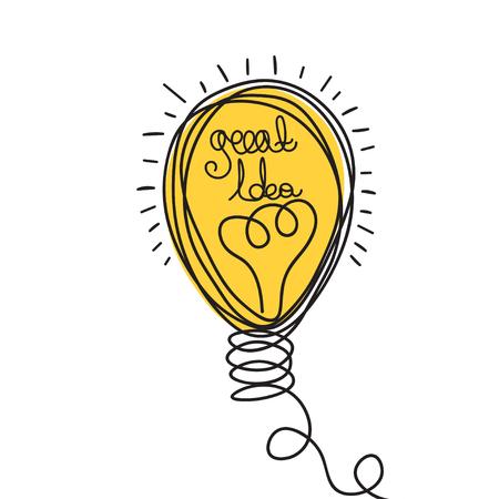 business idea: Idea illustration. Light bulb design. Vector business icon.  Doodle hand drawn idea bubble.