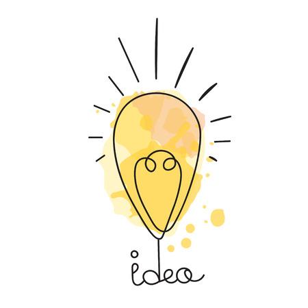 Idea illustration. Light bulb design. Vector business icon. Doodle hand drawn idea bubble.