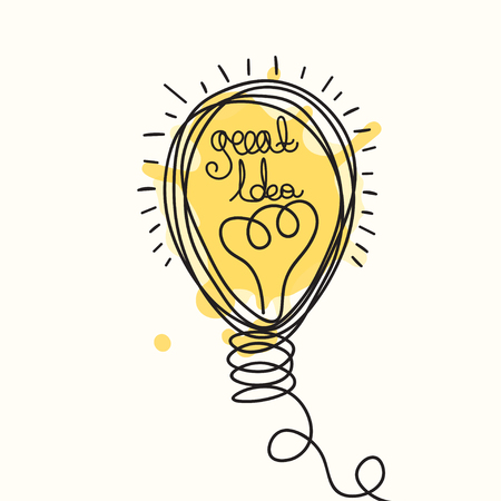 design drawing: Idea illustration. Light bulb design. Vector business icon.  Doodle hand drawn idea bubble.