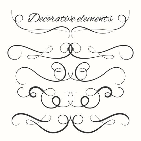 kit calligraphique. diviseurs dessinés à la main fixés. Bordures décoratives fixées. éléments décoratifs d'ornement. Vector éléments ornementaux design.