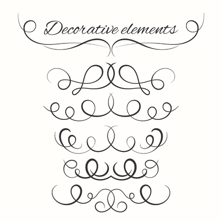diviseurs dessinés à la main fixés. Bordures décoratives fixées. éléments décoratifs d'ornement. Vector éléments ornementaux design. kit calligraphique.
