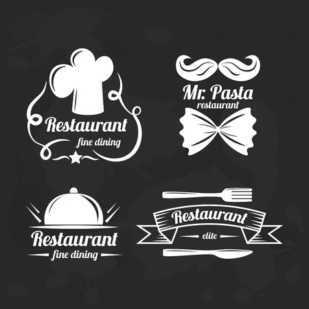 Restaurant logo elements. Set of flat logotypes for restaurants. Vector template for bussiness. Illustration