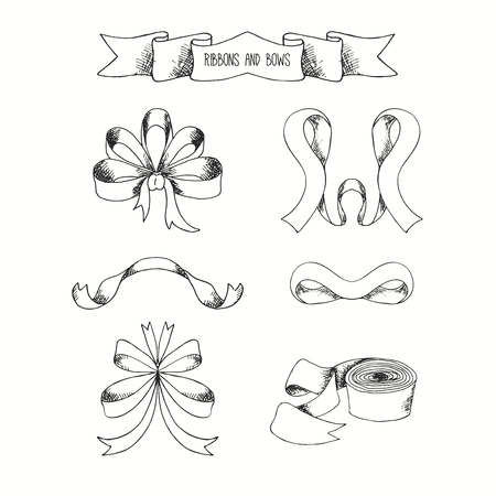ribbons and bows: Hand drawn ribbons set. Vector banners collection. Vintage decorative bows. Isolated elegance bow illustration. Illustration