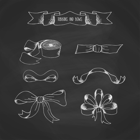 ribbons and bows: Hand drawn ribbons set on chalkboard. Vector banners collection. Vintage decorative bows. Isolated elegance bow illustration on blackboard.