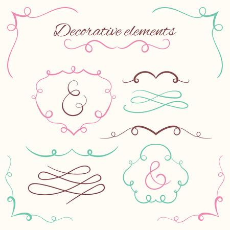 Set de diviseurs dessinés à la main. Ensemble de bordures décoratives. Éléments décoratifs ornementaux. Conception de cadres ornés de vecteur. Kit calligraphique