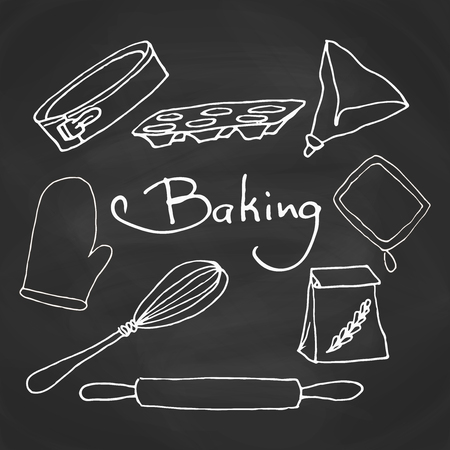 Hand drawn baking equipment. Kitchen tools design. Vector stuff for baking on a chalkboard.