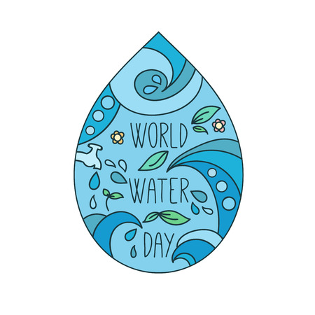 World water day illustration. Vector water drops. Mother earth design. Hand drawn card.