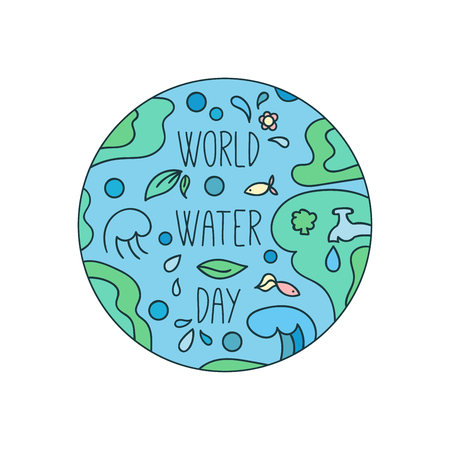 mother earth: World water day illustration. Vector water drops. Mother earth design. Hand drawn card. Illustration