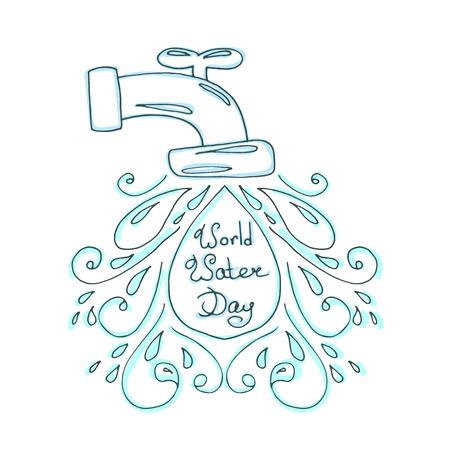 ilustración día mundial del agua. Gotas de agua del vector. diseño de la madre tierra. Dibujado a mano la tarjeta.