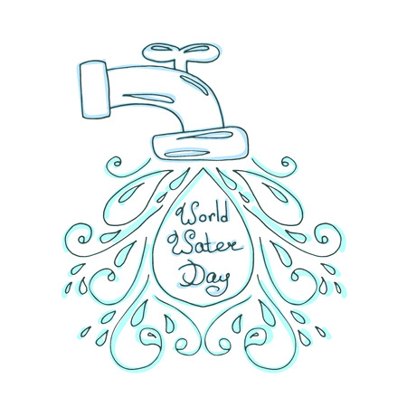 World water day illustration. Vector water drops. Mother earth design. Hand drawn card. Illustration