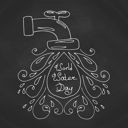 ilustración día mundial del agua. Gotas de agua del vector. diseño de la madre tierra. Dibujado a mano la tarjeta. Ilustración de vector
