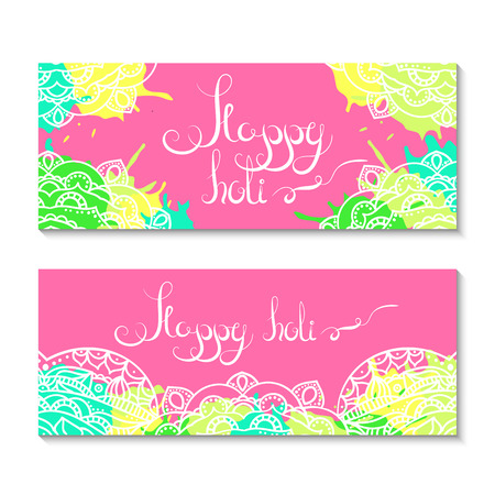 rang: Happy holi banners. Holi festival illustration.  Vector holi party elements design. Colorful paint splashes. Ecthnical hinduism decorative elements. Illustration