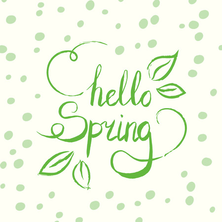 Hello spring tag. Vector ink lettering. Modern brush calligraphy. Hand drawn card design with green dots and leaves.