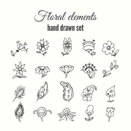 ベクターの花の装飾セット。ハーブや野生の花。抽象的な手はスケッチ花コレクションです。素敵な花し、招待状の枝を残します。