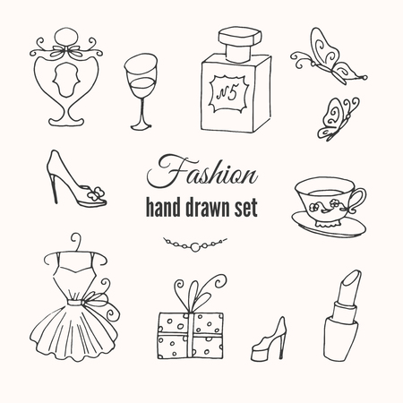 french style: Vector fashion hand drawn elements set. Hand sketched collection of french style. Europe fashion elegance doodle set.