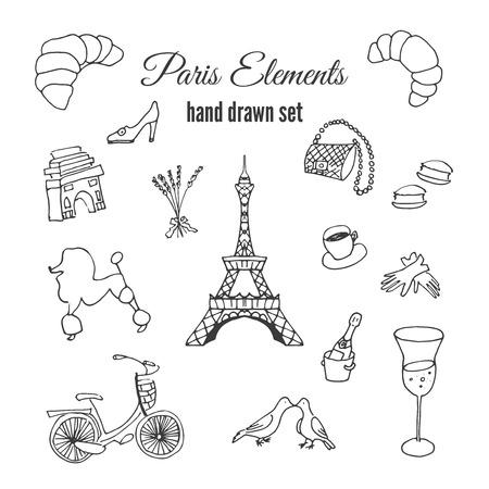 fashion glasses: Paris illustrations. Hand drawn france elements. Doodle elements on Paris theme. Fashion vector designs. Eiffel tower illustration.