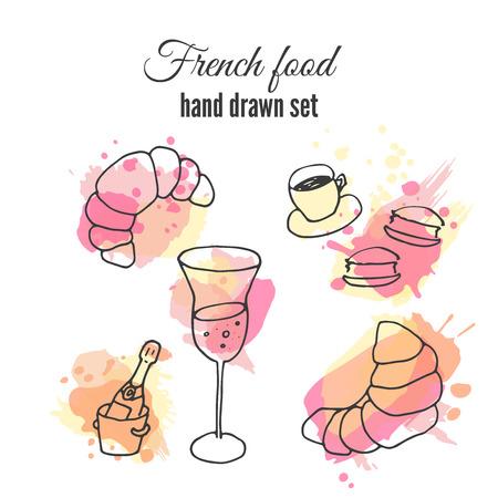 pasteleria francesa: ilustraciones comida francesa. Pasteles del vector y dise�os de caf�. ilustraci�n champagne franc�s. croissant franc�s y macarrones.