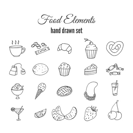 swiss roll: Hand drawn sweet pastry set. Bakery vector elements sketch. Excellent for creating your own menu design. Fruits vector doodles.