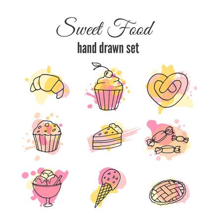 Vector illustratie van de cake. Set hand getrokken snoepjes met kleurrijke aquarel spatten. Cupcakes met room en bessen. Vector sweets design.