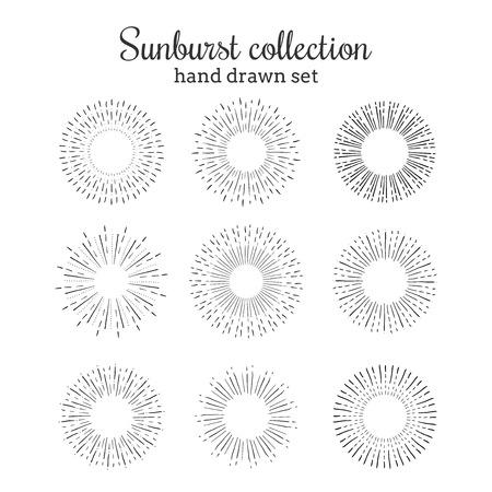 Sunburst vector collection. Retro rays frames. Star burst hand drawn circles. Sunshine decorative elements. Frames with ray illustration.