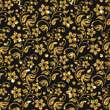 3 d illustration: Vector seamless damask pattern with flowers. Golden glitter pattern design. Gold floral background.  Bright sparkle on glossy golden flourish elements. Shiny flower. Illustration
