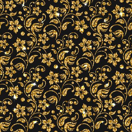 circle design: Vector seamless damask pattern with flowers. Golden glitter pattern design. Gold floral background.  Bright sparkle on glossy golden flourish elements. Shiny flower. Illustration