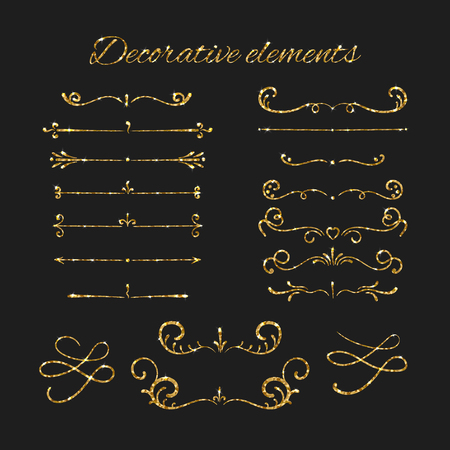decorative element: Golden dividers set. Ornamental decorative elements. Vector ornate elements design. Gold flourishes. Shiny decorative hand drawn borders with glitter effect. Calligraphic decorations with sparkles.