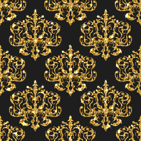 gold ornaments: Golden gritter seamless pattern. Vector background with damask ornaments. Gold sparkle design. Wallpaper print with gold.