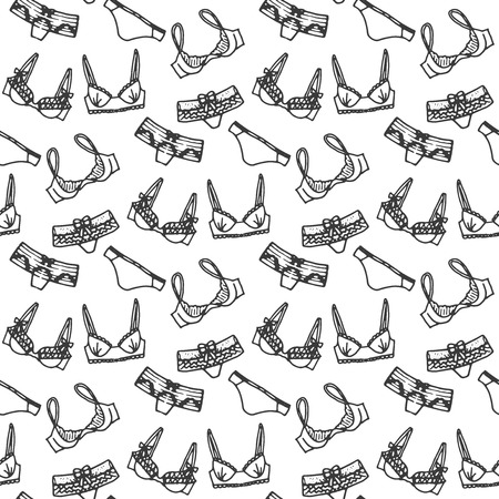 femininity: Lingerie seamless pattern. Vector underwear background design. Outline hand drawn illustration. Bras and panties doodle. Fashion feminine wallpaper. Illustration