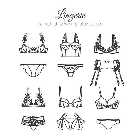 Lingerie set. Vector underwear design. Outline hand drawn illustration. Bras and panties doodle. Fashion feminine collection.