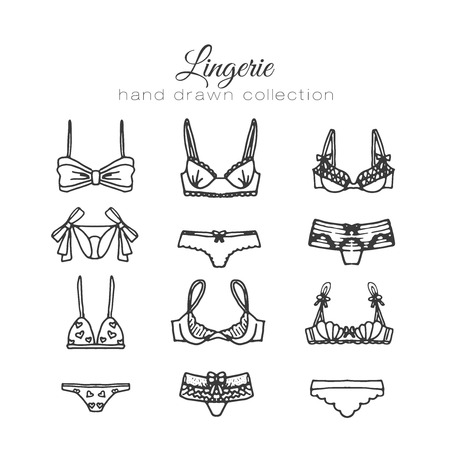 lace bra: Lingerie set. Vector underwear design. Outline hand drawn illustration. Bras and panties doodle. Fashion feminine collection. Illustration