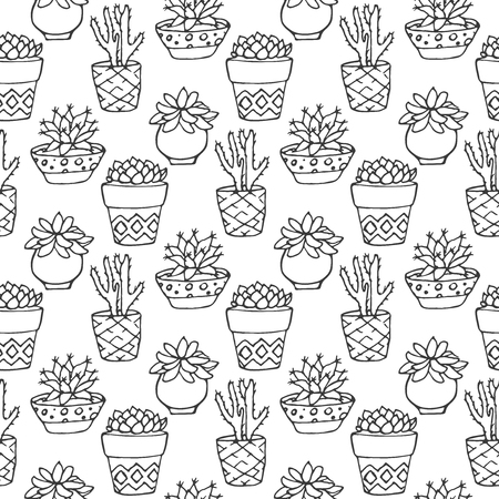 flora: Cactus seamless pattern illustration. Vector succulent and cacti hand drawn set. In door plants in pots. Exotic mexican flora design.