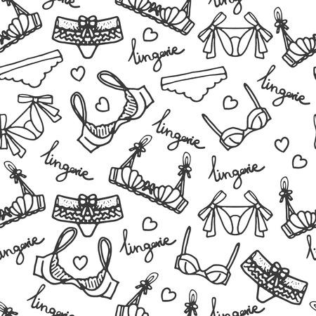 Lingerie seamless pattern. Vector underwear background design. Outline hand drawn illustration. Bras and panties doodle. Fashion feminine wallpaper. Vetores