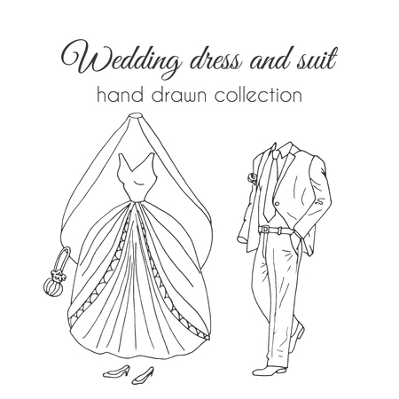 wedding dress: Wedding dress and suit illustration. Sketchy style.  bride and groom ceremony wear design. Wedding clothes set.