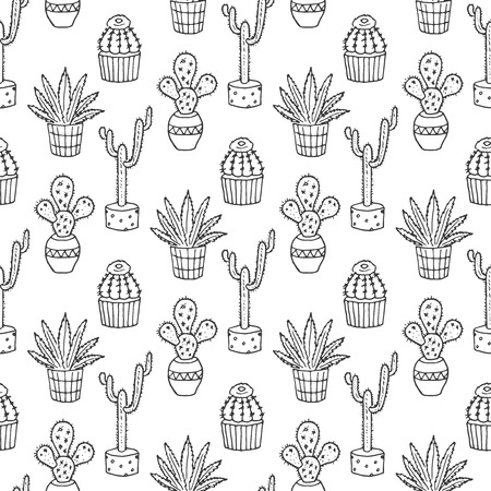 Cactus seamless pattern illustration. succulent and cacti set. In door plants in pots. Exotic mexican flora design.