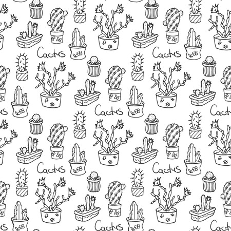 flora: Cactus seamless pattern illustration. succulent and cacti set. In door plants in pots. Exotic mexican flora design.