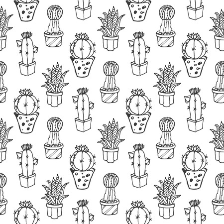 flora: Cactus seamless pattern illustration. succulent and cacti  set. In door plants in pots. Exotic mexican flora design. Illustration