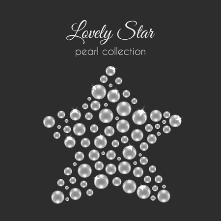 perls: Vector perls. Pearl in star shape. White pearls design with sparkles. Decorative wedding element. Illustration